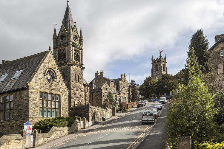 Village of Pateley Bridge in North Yorkshire - church and main street