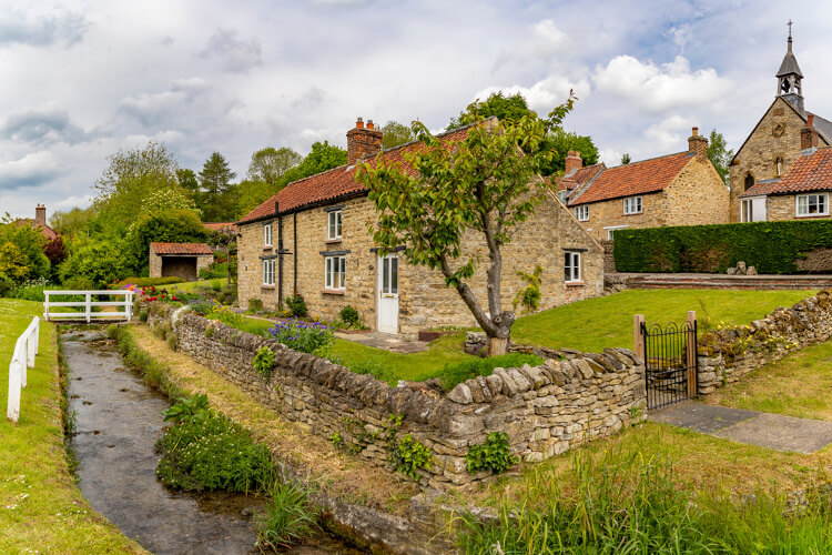 Traditional stone cottages in the village of Helmsley in the North York Moors