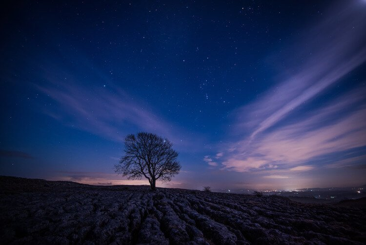 Starry night sky in the Yorkshire countryside