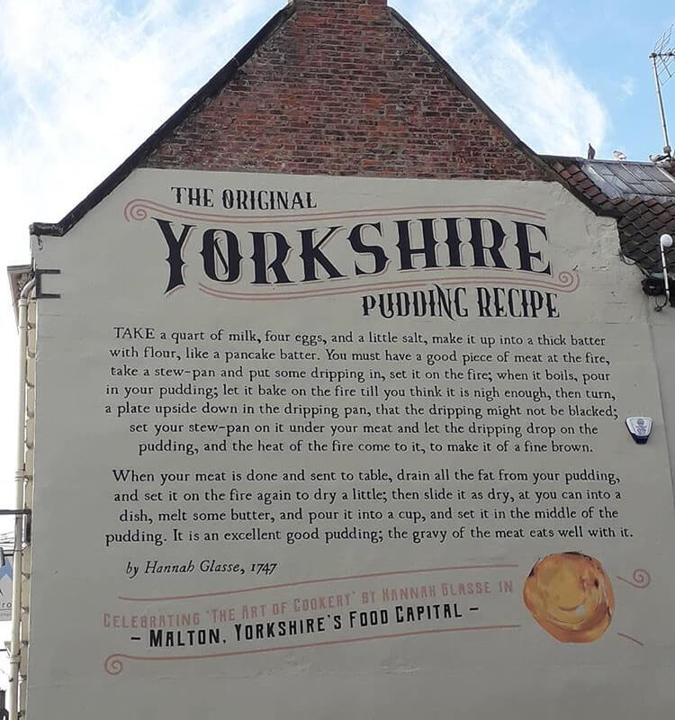 Yorkshire pudding recipe mural on a building in Malton, Yorkshire