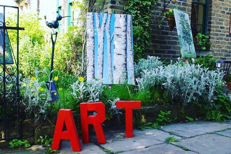 Outdoor displays at the Saltaire Arts Trail in Yorkshire
