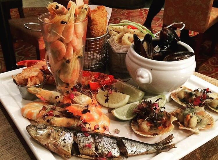 Seafood platter served at Green's of Whitby bistro restaurant in Yorkshire