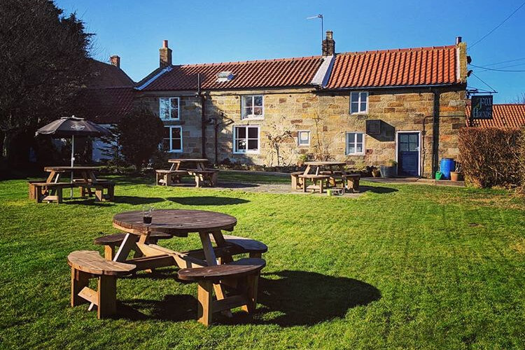 Beer garden at the Fox and Hounds pub in Goldsborough, Yorkshire