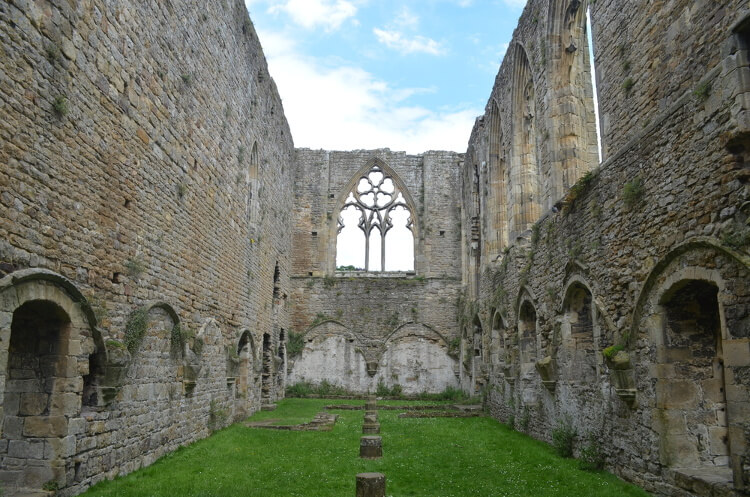 The cloister in the historic Easby Abbey near Richmond in North Yorkshire