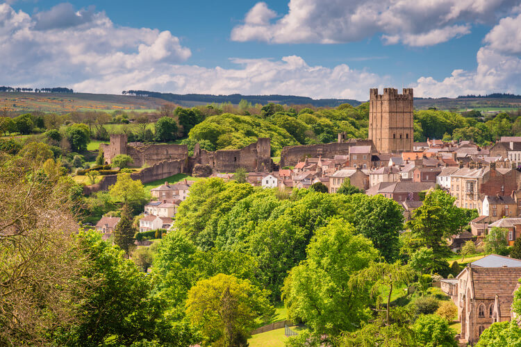 The skyline of historic town Richmond in North Yorkshire on a sunny day