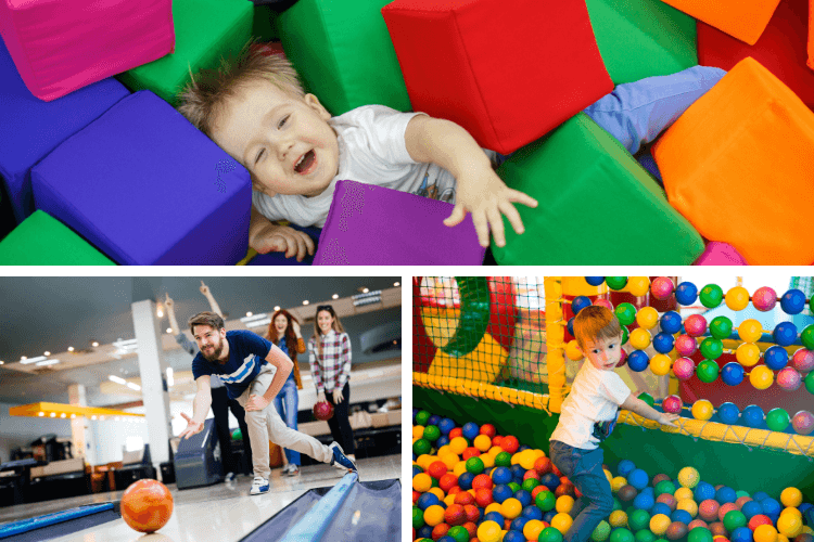 Montage of play centres and bowling - ideas for things to do in Pembrokeshire