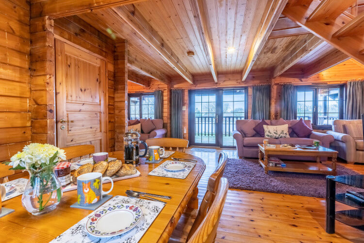 The open plan living room at Osprey Lodge Three