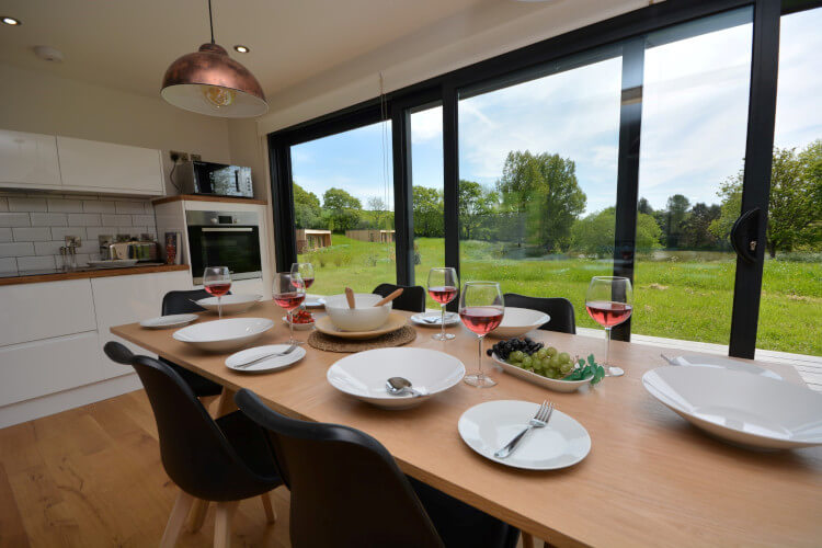 Mealtimes with a view at Cabana Lakeside Lodges, Devon