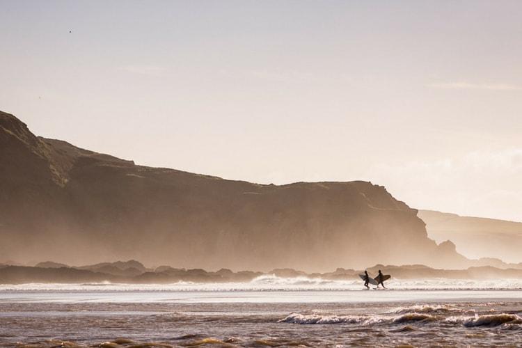 A surfing beach in Devon